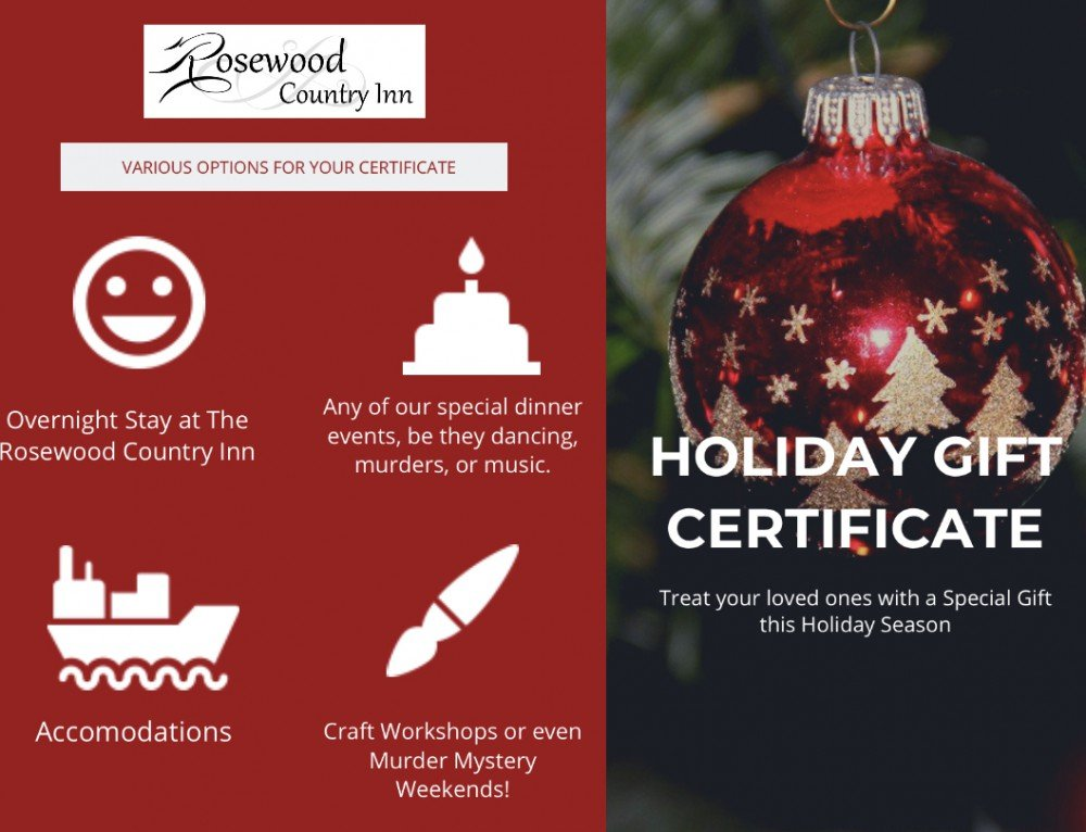Rosewood Country Inn Holiday Gift Certificates
